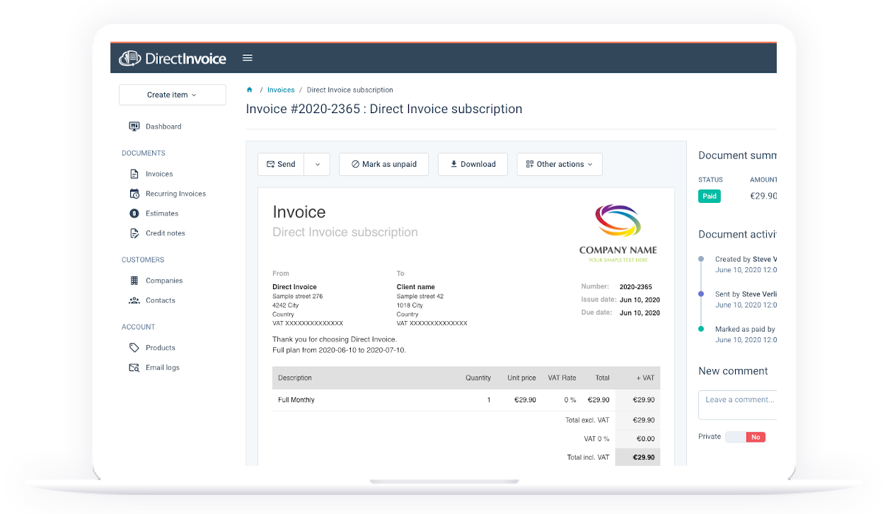 Online Invoicing Application For Freelancers And Smbs Direct Invoice